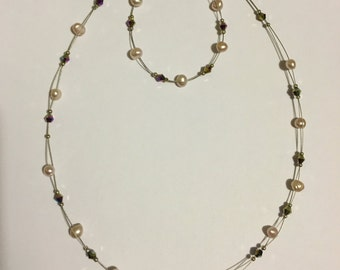 Freshwater Pearl and Amethyst Necklace and Bracelet Set