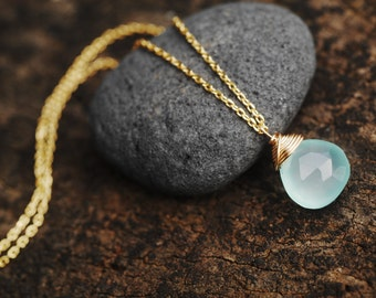 Aqua Chalcedony necklace // Glowing Aqua Chalcedony AAA gemstones // 14K Gold fill or Sterling silver wire // Made in Hawaii with love