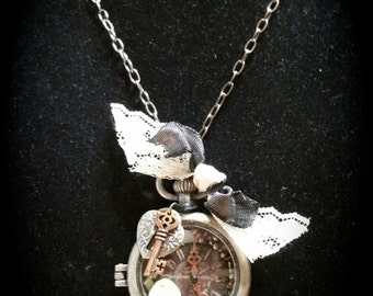 Steampunk Style Antique Silver Faux Pocket Watch Locket Necklace - Item# SPN088