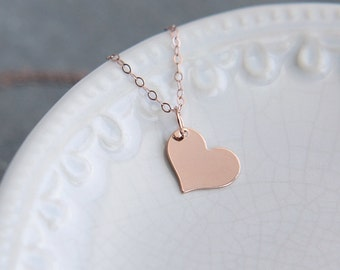 Heart Necklace, Sterling Silver Gold or Rose Gold Heart Necklace, Love Necklace, Dainty Heart Necklace, Bridesmaid Necklace, Heart Jewelry
