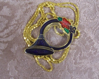 Vintage Enameled Cloisonne Holiday magnifying French Horn and Poinsettia Necklace.