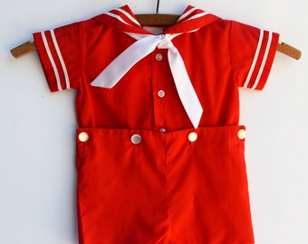 Red and White Sailor Romper, Baby Boy Clothes, Vintage, Size 3 Months, 1960s