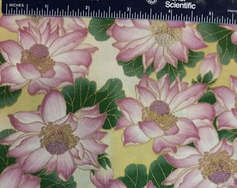 Empress Garden - Pink Lotus Blossoms on Gold Fabric