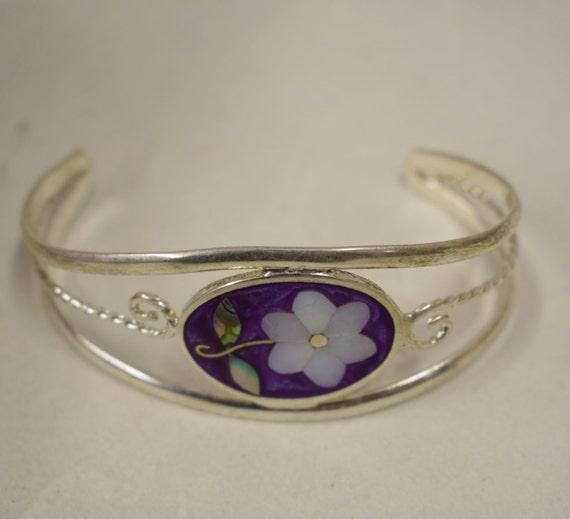 Bracelet Silver Wrist Cuff Shell Mother Pearl Flower Vintage Dark Purple Enamel Bracelet Handmade Silver Purple Enamel Shell Cuff Bracelet