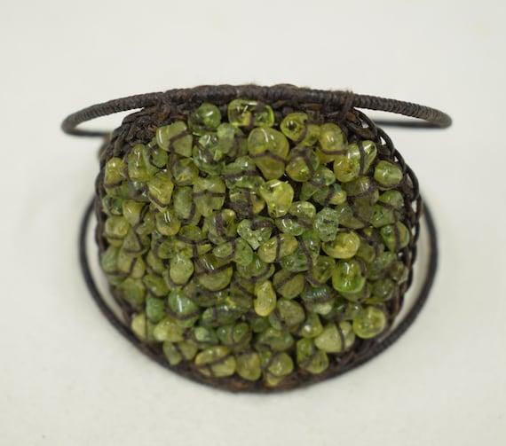Bracelet Adventurine Green Chip Disc Woven Cuff Bracelet Handmade Bracelet Jewelry Green Adventurine Beads Vintage Unique
