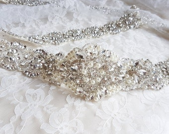 Bridal belt, wedding dress belt, wide belt, beaded belt, wedding belts and sashes, all around belt, wide sash, bridal, pearl bridal belt
