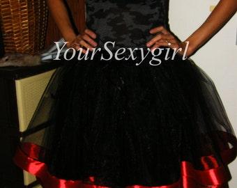 Black tutu skirt, Tulle skirt with satin framing