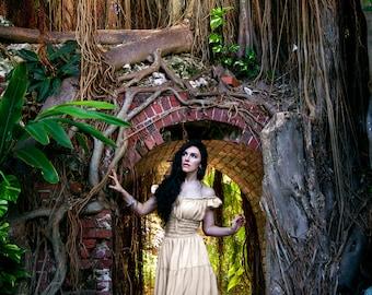 I-D-D Renaissance Peasant Wench Pirate Chemise Faire Women 's Gown Boho Hippie Sun Dress Cream  2XL/3XL