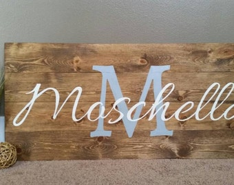 Custom Family Name and Initials Wood Sign/Board