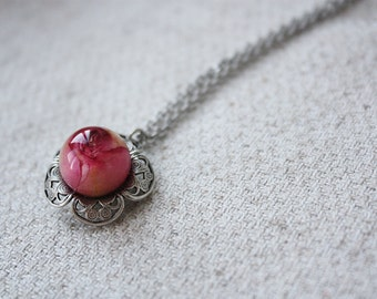 Pendant with real small rose