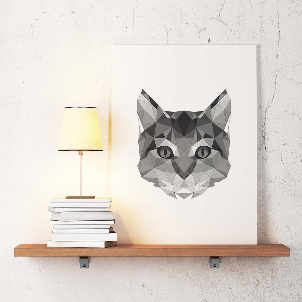 Cat poster geometric art cat wall decor minimalist abstract for Minimalist wall decor