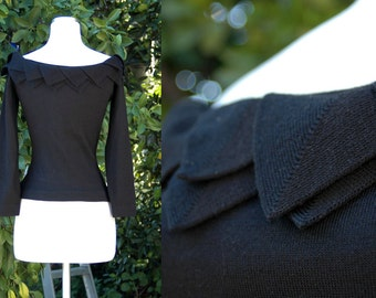 Black Off the Shoulder Knit Sweater with Three Quarter Sleeves and Petal Detail