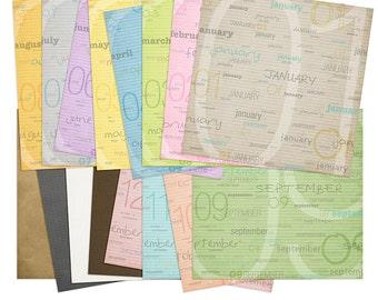 Planner Months: Digital Scrapbooking Papers