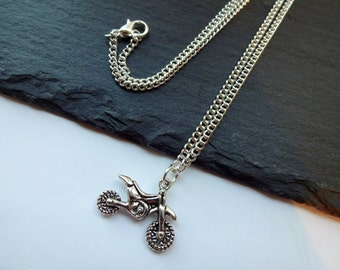 Motorcycle Necklace, Dirt Bike Necklace, Silver Plated Chain, Charm Necklace, Motocross Necklace, Off Road Bike