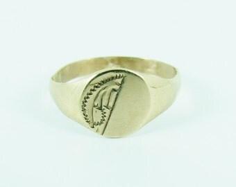 Vintage 9ct 9k Gold Signet Ring Size 3 3/4 - G 1/2