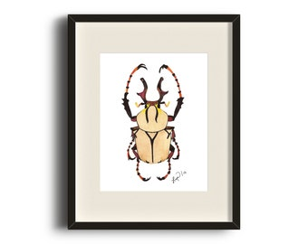 Beige Beetle Watercolor Art Print - Beautiful Home Decor Piece