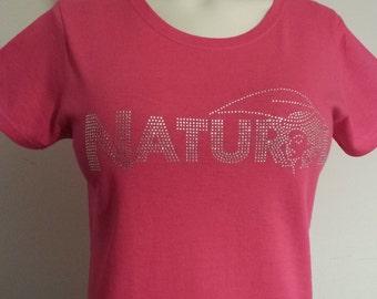 Pink Rhinestone Afro Natural Hair Hairstyle Bling Tee T Shirt