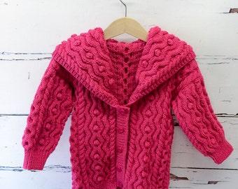 Girls Knitted Cable Coat, Toddler / Child Coat, Hand Knitted Childs Coat, Aran knitted Coat, Pink Knitted Coat, Winter Wardrobe, UK SELLER