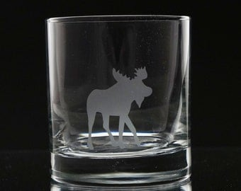 Moose Whiskey Glass- Etched Whiskey Glass- Scotch Glass- Moose Glassware