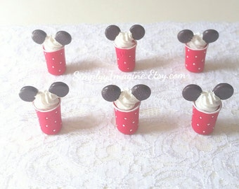 Tall Mouse Cup Mug Dessert Food Cabochon Resin Flatback Miniature Whipped Cream Scrapbook Supplies - 2/4/6 PCS