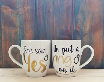 He put a ring on it, She said yes, Engaged mug set, engagement mugs, Future Mrs, He put a ring on it mug, engagement announcement