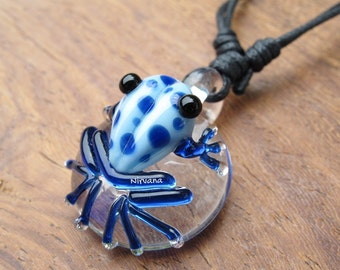 Custom Made Sky Blue Poison Tree Frog with Blue Spots Glass Pendant Critters with Adjustable Black Cord (Free Shipping from Thailand)!!!