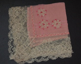 Vintage Silk Embroidered Pink Handkerchief with Lace Edging- Flower Embroidery- Breast Cancer gift