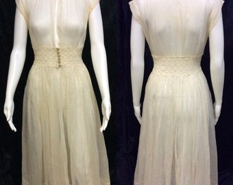 Vintage 1930's Sheer House Dress with Lace Inset Waist