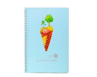 Unique Spiral Journal-Ice Cream Tree/Lined/B5/Hard Cover/Office/School/Cute/Blue/Kid/Student/Inspirational/Large Journal/Class Notebook