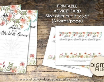 Floral wedding advice card, Advice for the Bride and Groom, Advice for the Newlyweds, Advice card printable,  DIY card, INSTANT DOWNLOAD