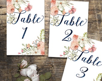 Wedding Table Numbers 1-20, Printable Table Numbers, rustic table number, flower table numbers, Wedding Printable, Wedding table Sign,