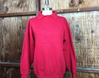 Vintage, VTG, Women's Clothing, 80's Giorgio Beverly Hills Collared Sweatshirt Sz. Medium Red