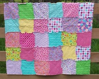 Rag Quilt / Throw Blanket / Modern Fabrics / Pink / Purple / Green / Yellow / Girls Blanket