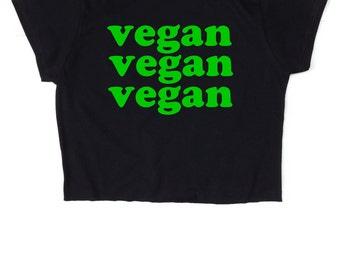 Vegan Vegan Vegan ∘ Retro ∘ 70s ∘ Vegetarian ∘ Crop Top ∘ Womens Ladies