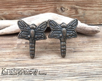 SET OF 2 - Dragonfly Knobs - Cabinet Knob Lighting Bug Dragon Fly Drawer Pull - Cast Iron Knob - Nature Nursery Decor