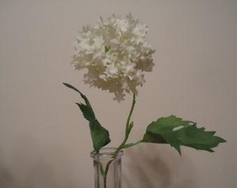 "White Snowball Flower 9"" Stem DIY  Silk Flowers  Artificial Flower Stem  #219B*"