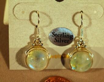 Natural Green Moonstone dangle earrings. Natural Moonstone earrings. Solid Sterling Silver.