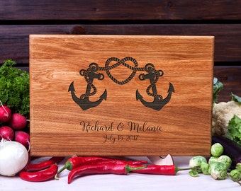 Personalized Cutting Board Nautical Anchor cutting board Wedding gift Housewarming Anniversary Gift for Couple Customized Chopping Board