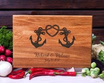 Personalized Cutting Board Nautical Anchor cutting board Wedding gift Housewarming Anniversary Gift for Couple Customized Chopping Board