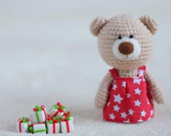 Christmas amigurumi teddy bears in the dresses - small teddy bear, personalized bear gift, Christmas bear, custom teddy bear MADE TO ORDER