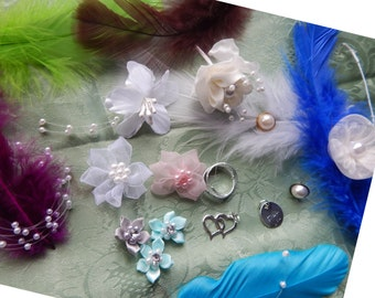 EMBELLISHMENTS, Florals, Pearls, Hearts, Silver with Thank You, Silver Rings, Florals with Pearls, Sheer Florals with Pearl, Spring Summer