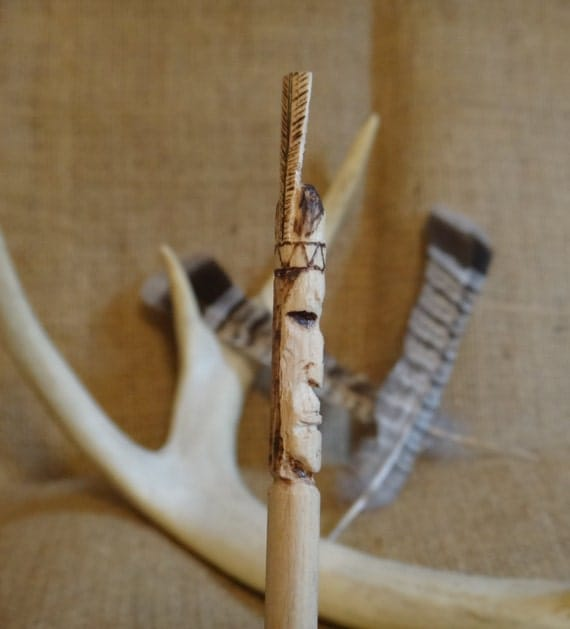 Native american carved wooden pencil hand