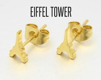 Gold Eiffel Tower Stud Earrings, Eiffel Tower Earrings, Eiffel Tower Jewelry, Eiffel Tower Studs, Eiffel Tower Ear Posts, Paris Ear Studs