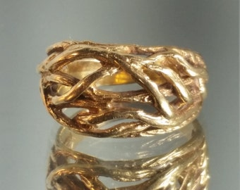 10K Solid Yellow Gold Handcrafted Nature Tree Ring Band Retro Vintage