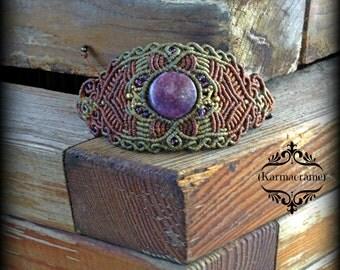 Lepidolite Macrame bracelet\handmade\micromacrame