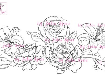 Digital Stamps, Digi stamp, Wedding stamp, Wedding Flowers, Peonies, Rose, Lily, Bridal bouquet. The  Wedding Collection. Wedding Flowers