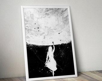 Star Touch, Acrylic Painting, Art Print,  Moon Art, Space Art, Star Art, Black And White Art, Minimalist Art, Modern Home Decor, Wall Art
