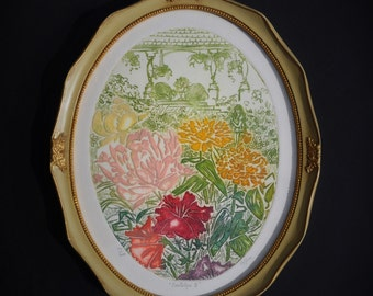 Original Intaglio Etching, Artist Pencil Signed & Numbered, Framed Limited Edition Print, Embossed / Hand Colored, 1970's Boho Flower Garden