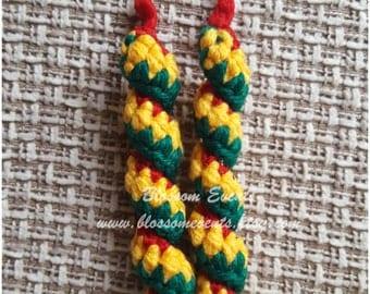 Crocheted Swirl Earrings- Yellow, red & green