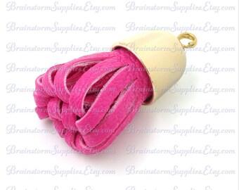 Tassels - Decorative Tassels - 6 Pretty Pink Tassels with Pale Gold Caps - Key Chain Tassel - Tassels for Jewelry -  Purse Tassel - TD-2G17